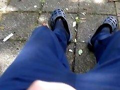 Outdoor jerking in park