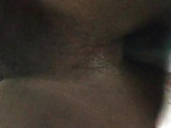 Playing with my dildo and my big fat black ass