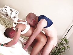 Eager boy sucks stud's dick before riding it with his ass