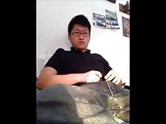 Cute Korean College Boy Rides Dildo Jerks and Cums for Daddy