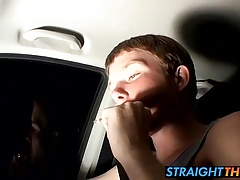 Straight thug Billy wanks in his car while driving at night