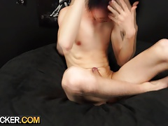 Big dick emo twink plays with his boy meat and cums