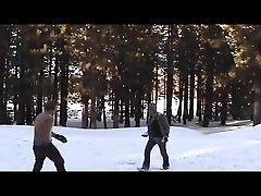 Two twinks have fun after playing in the snow - Factory Video