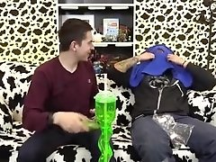 Cute Russian twink puts his big fat pickle in blindfolded daddys mouth