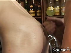 Bar boy gives double oral before spit-roasting fun