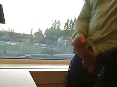 Having Wank in Office and Cum on Window