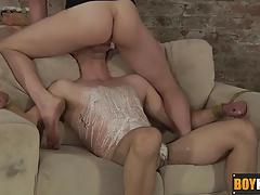 Horny Kieron push his big dick deep into Jaxon mouth