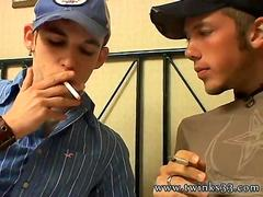 Smoking gay guys sharing kisses in bed and sucking cock