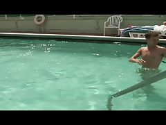 Two gorgeous hunks get frisky and fuck in the pool