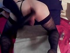 twink CD doggie black dildo gaping ass