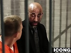 Mature bold dude fucks sexy twink hard in a prison cell
