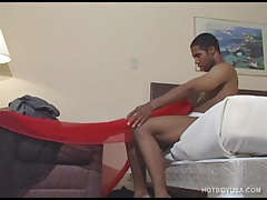 Ebony Twink Drake Carmichael Jerks Off and Cums
