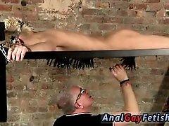Gay muscle bondage thumbs Master Kane has a fresh toy, a metal sofa