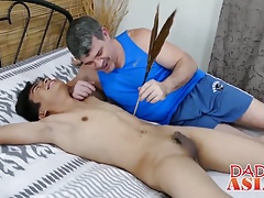Asian twink opens his anus for a big hard white meat pole